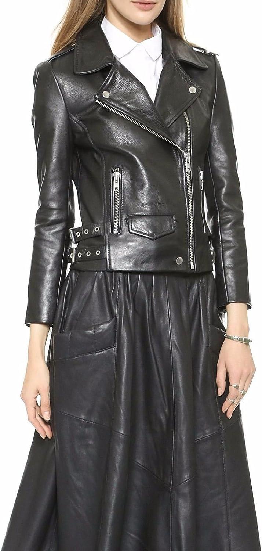 Koza Leathers Womens Lambskin Leather Biker Jacket KN154