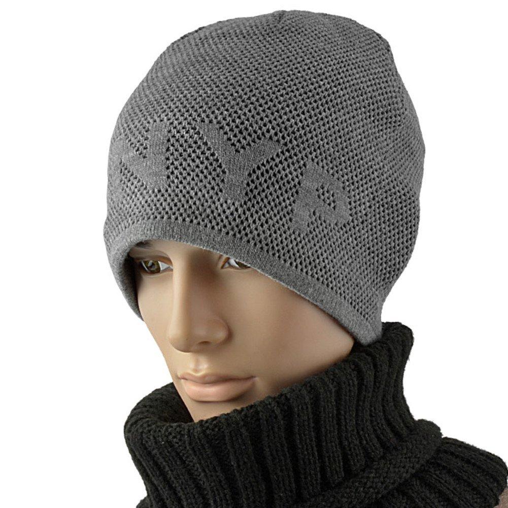 Men hat Outdoor Knit hat Wool Hat Add Plush Padded Cap Warm Header Head Cap