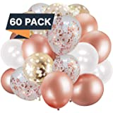 60 Pack Rose Gold Balloons + White Balloons + Confetti Balloons w/Ribbon | Rosegold Balloons for Parties | Bridal & Baby…