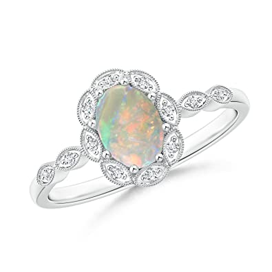 Angara Opal Ring with Diamond Halo in Rose Gold - October Birthstone Ring