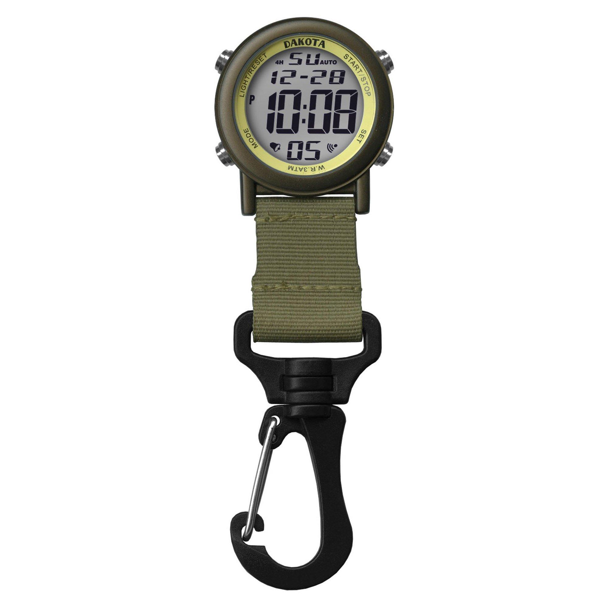 Dakota Digital Lightweight Backpacker Clip Watch (Green and Bronze)