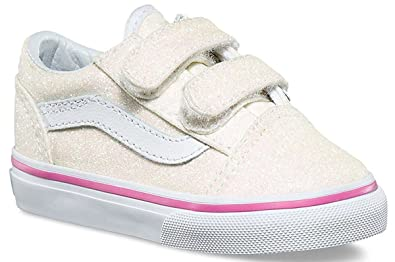 738a09f97c0 Vans Old Skool V Rainbow Glitter White Toddlers Trainers Shoes ...
