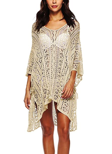 Women Bikini Cover Up Hollow Crochet Swimsuit Beach Tunic Long Shirt Solid Buy One Give One Women's Clothing