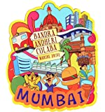 SkyWalker India Souvenir Mumbai Wooden Fridge Magnet (Multicolour)