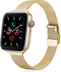TRA Metal Slim Band Compatible for Apple Watch Band 38mm 40mm 42mm 44mm, Stainless Steel Mesh Adjustable Replacement Thin Strap Wristband for iWatch Series 5/4/3/2/1 Women & Men (Gold, 38mm/40mm)