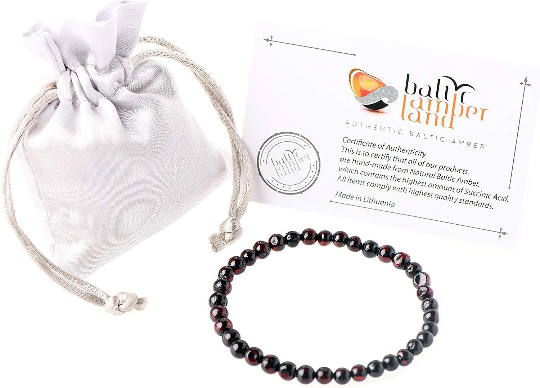 Pulsera de auténtico ámbar báltico para adultos, unisex, perlas de ámbar báltico naturales hechas a mano, color cerezo, 18 cm