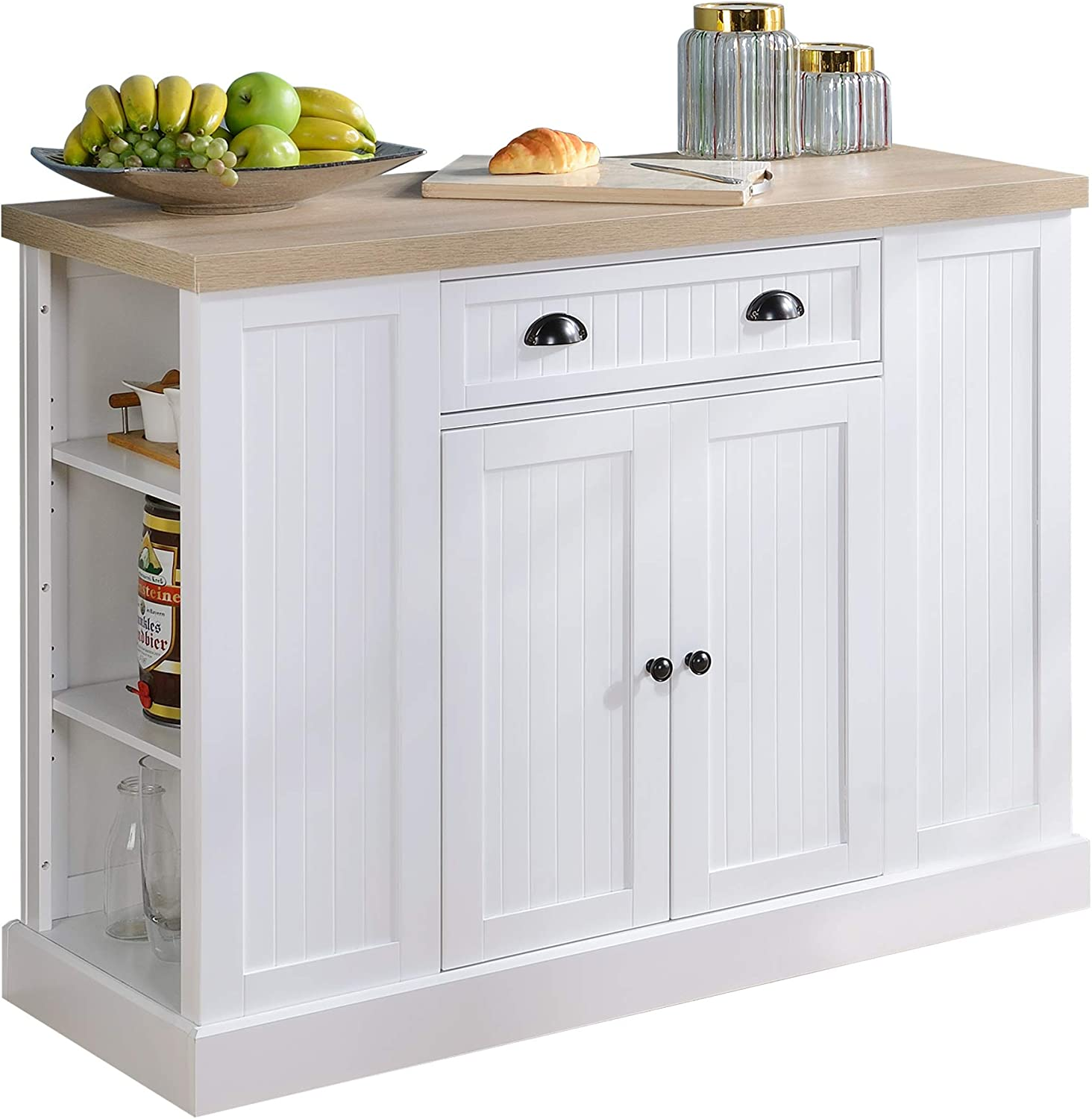 HOMCOM Fluted-Style Wooden Kitchen Island Storage Cabinet with Drawer, Open Shelving, and Interior Shelving for Dining Room, White