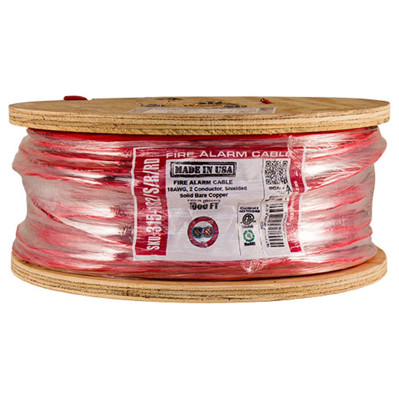 Vertical Cable Fire Alarm Cable, 18 AWG, 2 Conductor, Solid, Shielded, FPLR (Riser), 1000ft Spool, Red - Made in USA