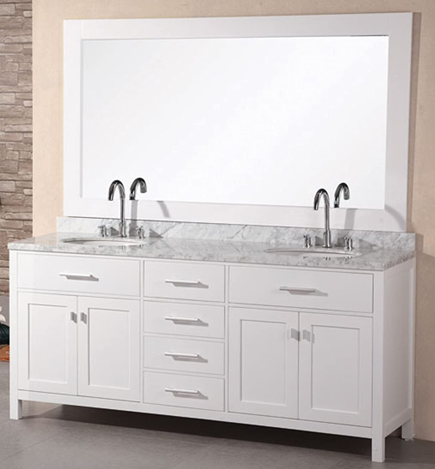 Free shipping design element dec076b w london 72 inch for Design element marcos solid wood double sink bathroom vanity