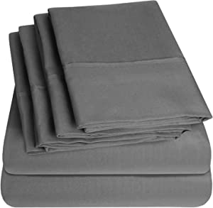 Cal King Size Bed Sheets - 6 Piece 1500 Thread Count Fine Brushed Microfiber Deep Pocket California King Sheet Set Bedding - 2 Extra Pillow Cases, Great Value, California King, Gray