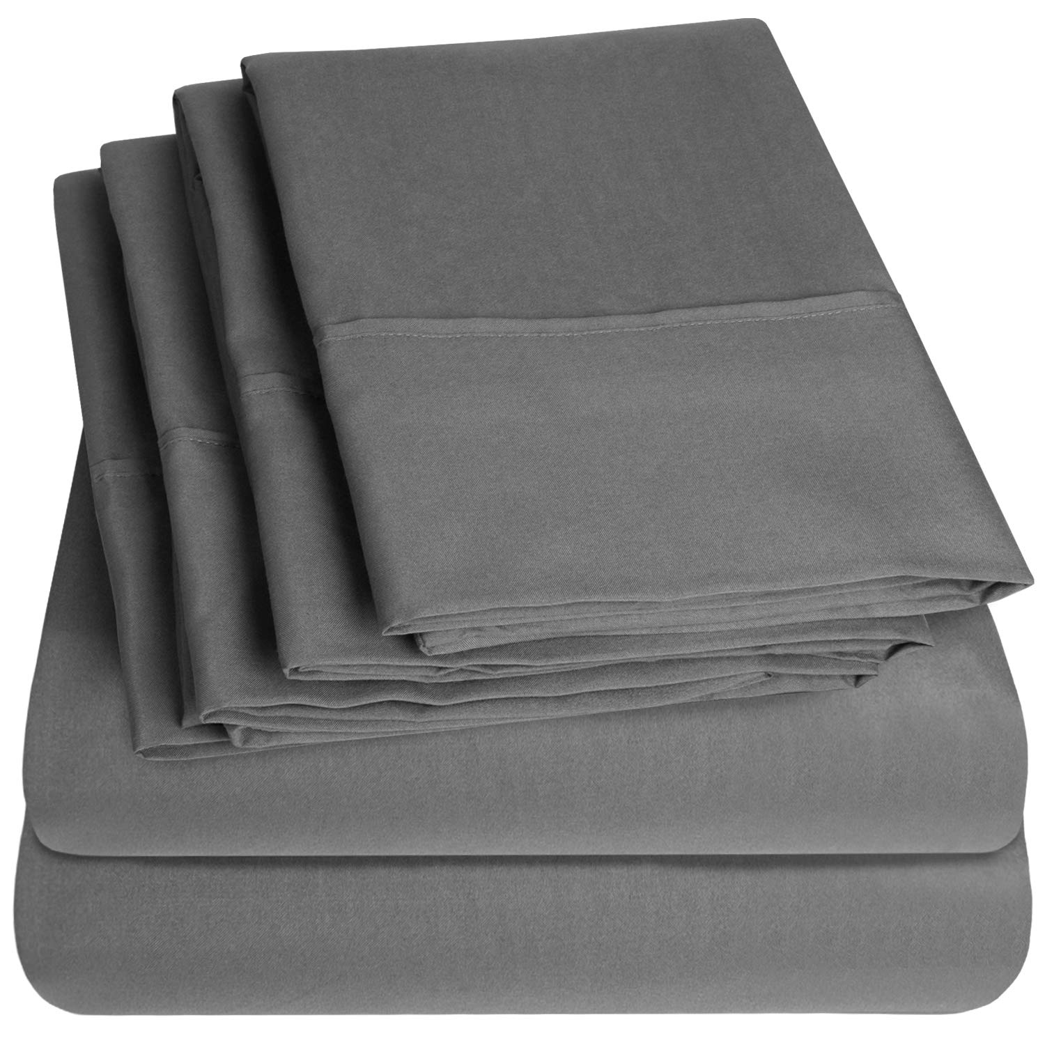 Sweet Home Collection Size 4 Piece 1500 Thread Count Fine Brushed Microfiber Deep Pocket Twin Sheet Set Bedding-1 EXTRA PILLOW CASES, VALUE, Gray