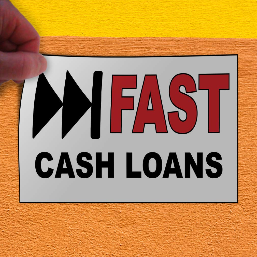 27inx18in Decal Sticker Multiple Sizes Fast Cash Loans White Black Red Business Money Outdoor Store Sign White Set of 5