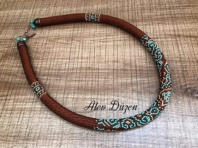 Amazoncom Bead Crochet Necklace Brown Turquoise Color Beaded Rope