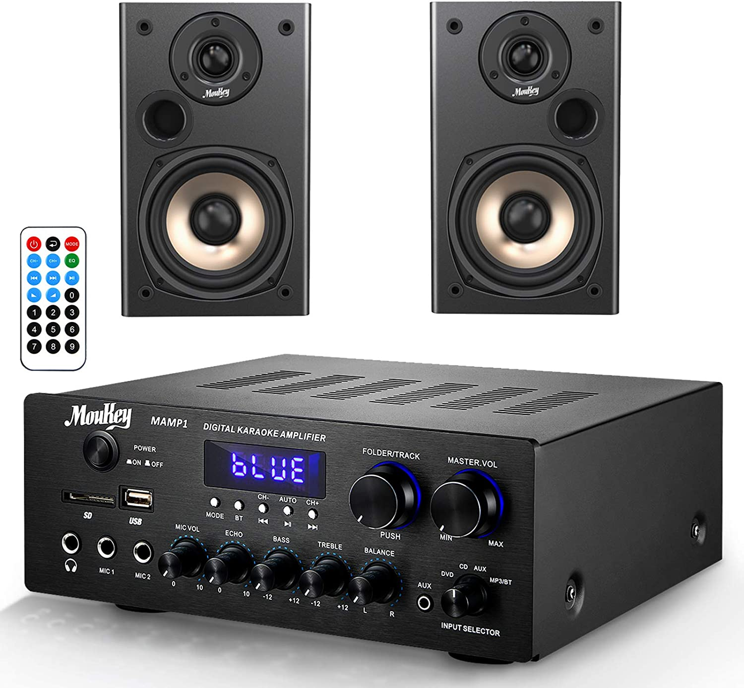 Moukey Home Audio Power Amplifier System with Passive Bookshelf Speakers, 220W Bluetooth Sound Audio Stereo Receiver and 100W Peak Power Speakers Pair for Home Theater