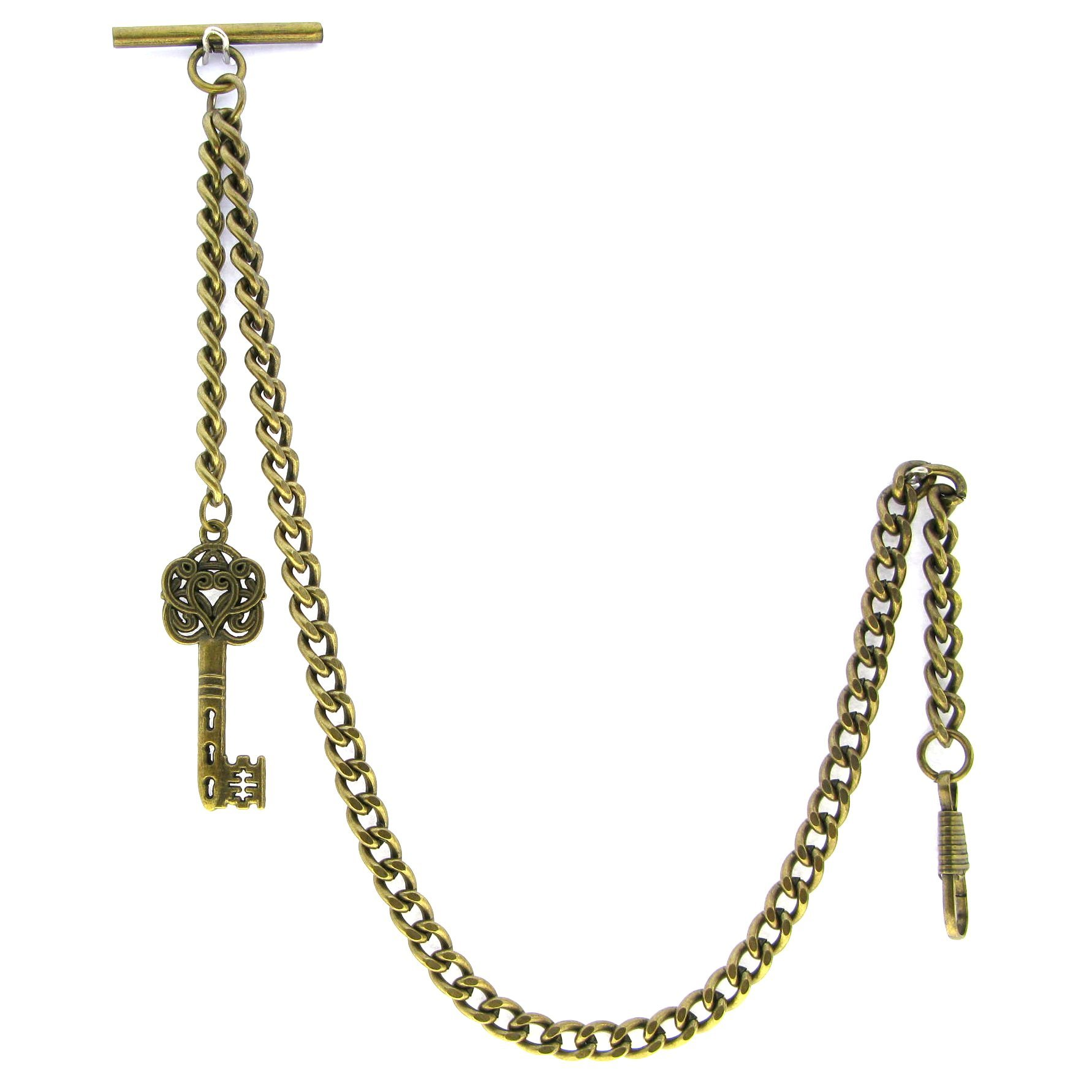 Albert Chain Pocket Watch Curb Link Chain Antique Brass Plating Key Fob T Bar AC06