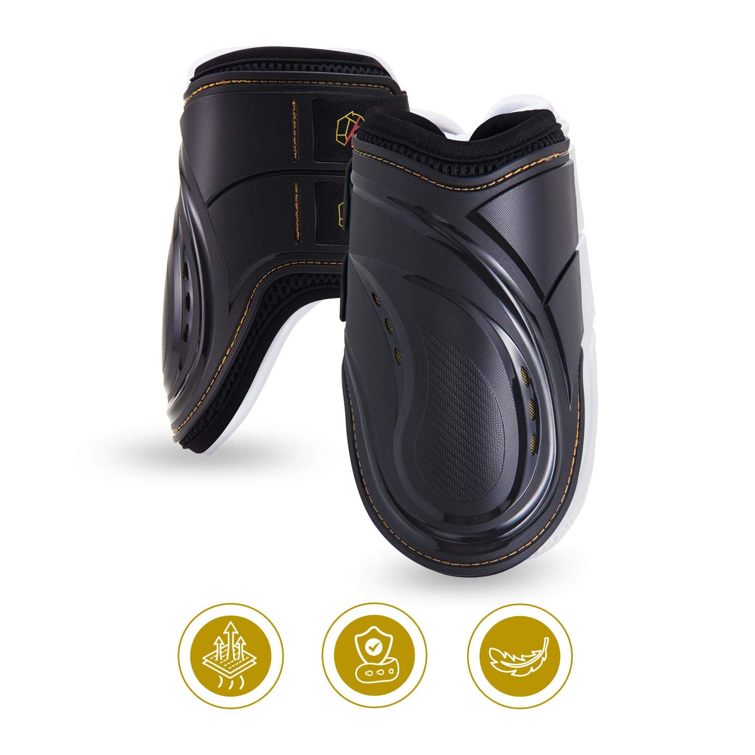 Kavallerie Fetlock Boots for Horses Pro-K 3D Air Mesh Horse Ankle Boots with Impact Resistant and Breathable Soft Padding for Horse Jumping & Training Black