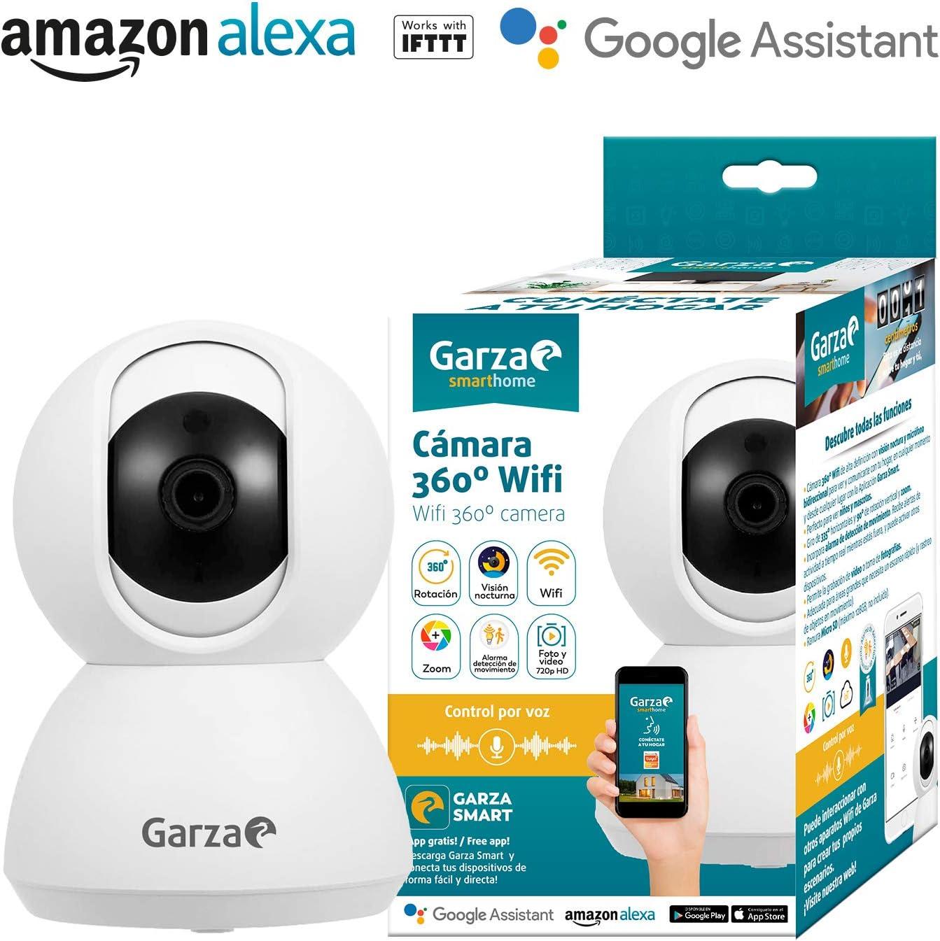 Garza Smarthome - Cámara IP WiFi Inteligente 360, visión Nocturna, HD, iOS, Android, Alexa, Google: Amazon.es: Electrónica