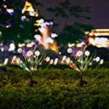 Solar Lights Outdoor - Solar String Lights 2 Pack - New Upgraded Solar Garden Lights, Brighting Chrysanthemum Solar Flower Lights for Patio,Yard Decoration, Bigger Flower and Wider Solar Panel (White)