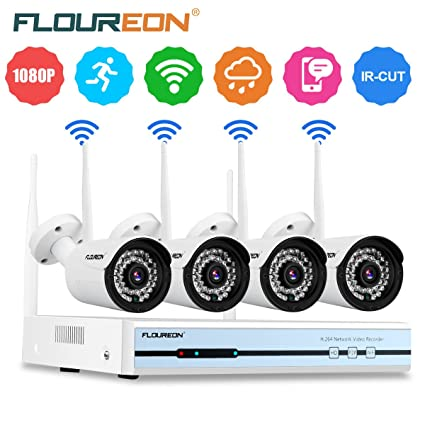 FLOUREON Wireless CCTV System 4CH Wireless 720P NVR + 4 Outdoor Wifi 720P  PAL IP Cameras CCTV Security System Support Night Vision/Motion