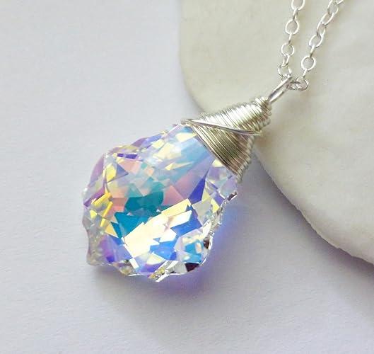 04e5291e5e57 Image Unavailable. Image not available for. Color  Aurora Borealis  Swarovski Crystal Necklace ...