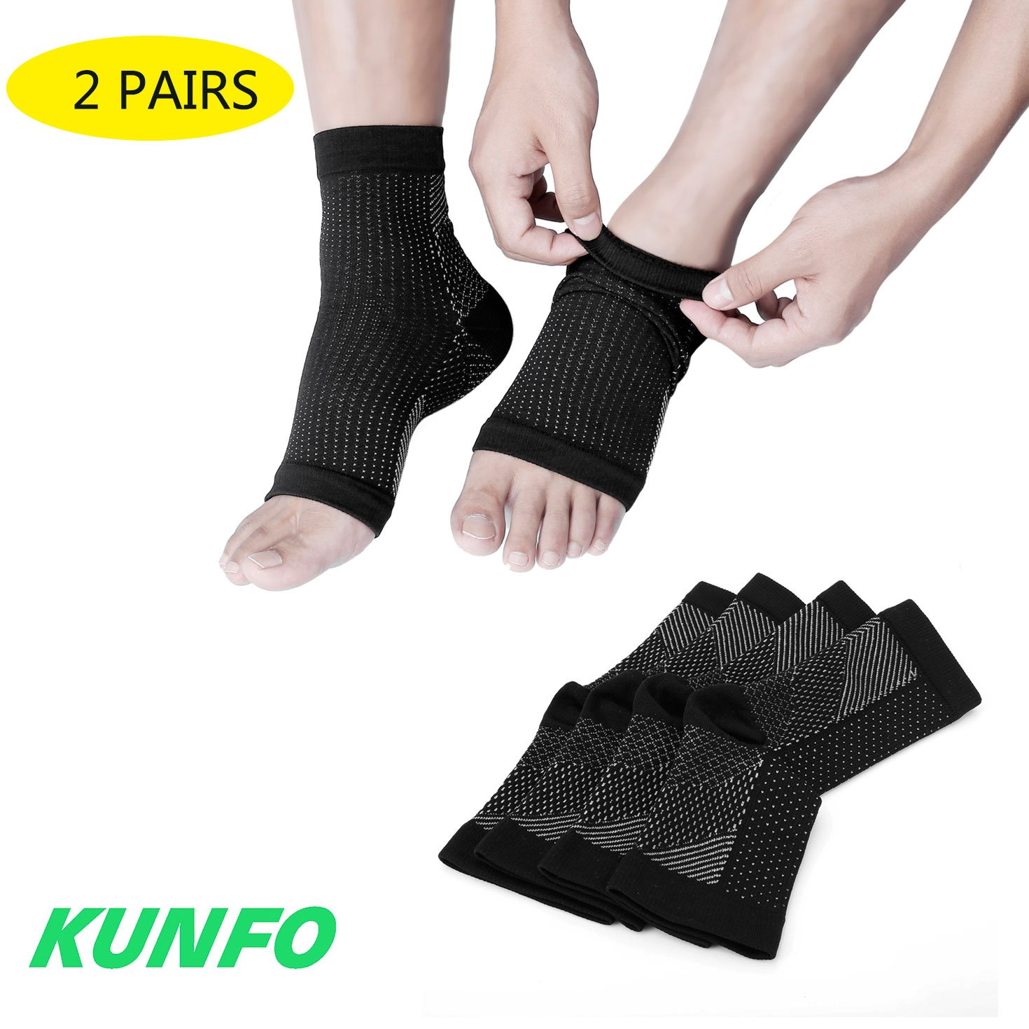 Kunfo fascite plantare calzini Ultimate Support for your Aching tacchi, regalo ideale per corridori, corsa, ciclismo, arrampicata, ecc. (2paia di calze a compressione per confezione)
