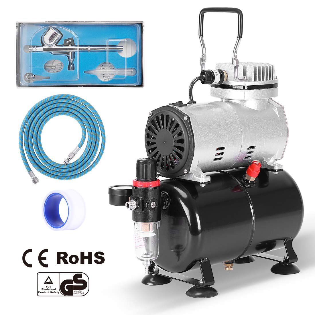 VIVOHOME 110-120V Professional Airbrushing Paint System with 1//5 HP Air Compressor and 3 Airbrush Kits ETL Certified