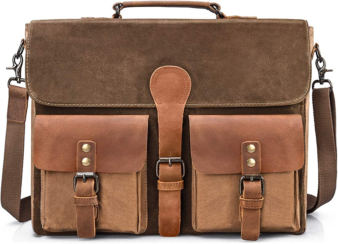 Mens Messenger Bag 15.6 Inch Waterproof Waxed Canvas Leather Laptop Briefcas
