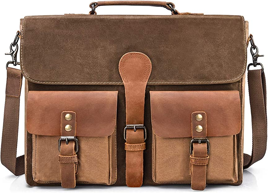YJXJJD Mens Tote Bag Large Capacity Leather Briefcase Business Casual Bag Color : Brown