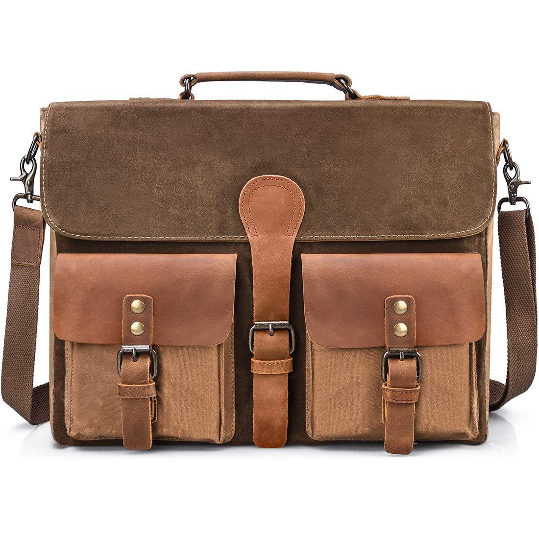 Mens Messenger Bag Vintage Genuine Leather Large Laptop Briefcase 15.6 Inch Waterproof Waxed Canvas Satchel Shoulder Bag Rugged Leather Computer Work Bags Brown