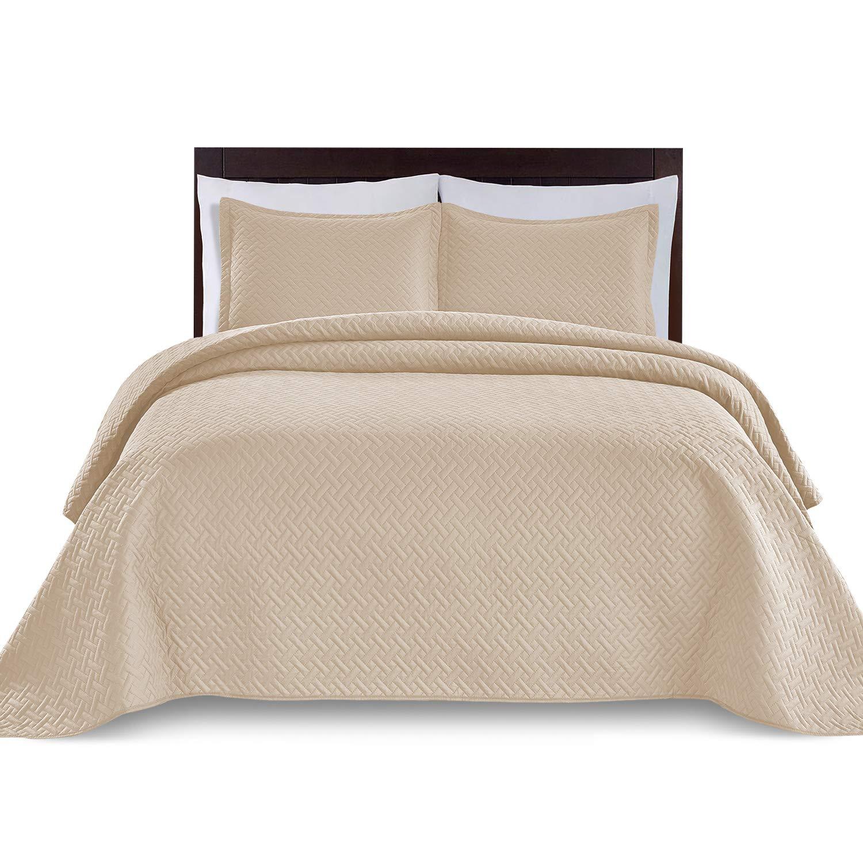 WAVVA Bedding 3 Piece Oversize, Lightweight and Prewashed Bedspread Coverlet Set (Beige/Weaving, King/California King)