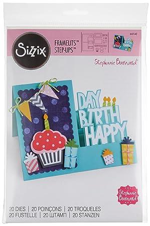 Sizzix 660142 Framelits Lot De Carte Joyeux Anniversaire Step Ups 19 Pack