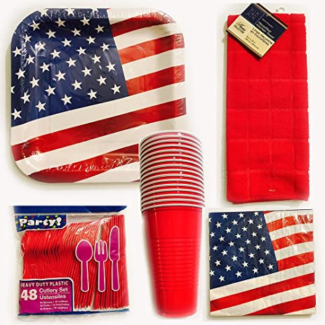 Patriotic Party Plates 4th of July Plate Set Disposable Dinnerware AMERICAN FLAG Plate Set and Napkin  sc 1 st  Amazon.com & Amazon.com: Patriotic Party Plates 4th of July Plate Set Disposable ...