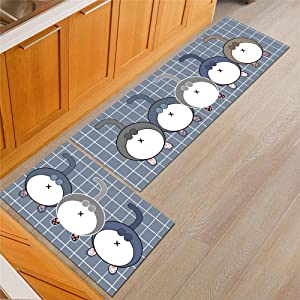 KFEKDT Cartoon Kitchen Rugs Non Slip Absorbent Bathroom Mat Kids Room Bedsider Cat Claw Pattern Rug Modern Living Room Carpet A3 40x60cm and 40x120cm