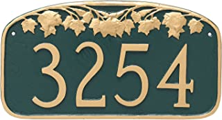 "product image for Montague Metal Maple Leaf Address Sign Plaque, 7.25"" x 13.5"", Navy/Gold"