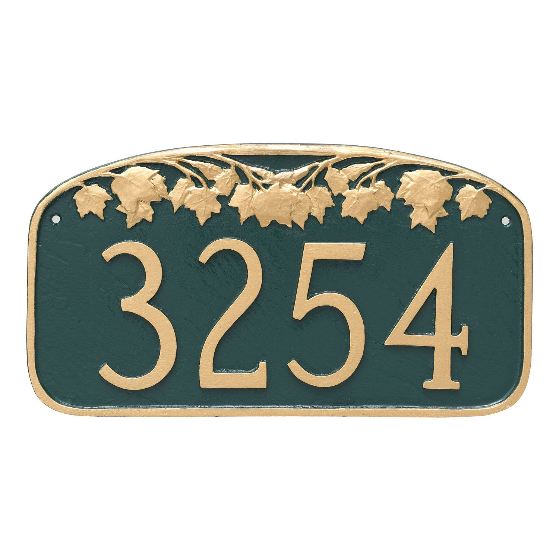 Montague Metal Maple Leaf Address Sign Plaque, 7.25'' x 13.5'', Aged Bronze/Gold
