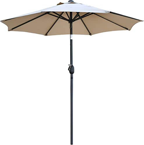Snail 7'2″ Tilting Small Patio Umbrella Sunshade 1000 Hours Fade-Resistant Outdoor Porch Table Umbrella