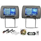 "New Rockville RDP931-GR 9"" Gray Car DVD/USB/HDMI Headrest Monitors+Video Games"