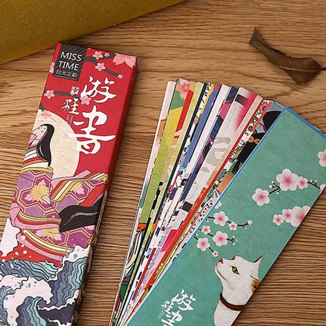 XINGSd Buen aspecto 30 marcapáginas de papel vintage japonés estilo vintage para niños, estudiantes, libros, clip para escuela, oficina, regalo en estilo fino, color ninguno de la imagen