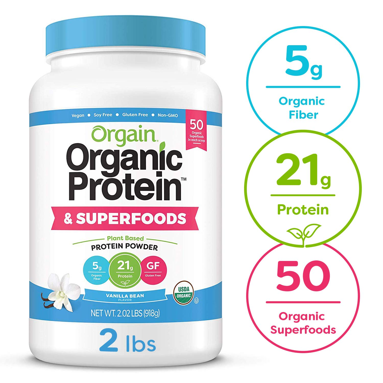 Orgain Organic Plant Based Protein + Superfoods Powder, Vanilla Bean - Vegan, Non Dairy, Lactose Free, No Sugar Added, Gluten Free, Soy Free, Non-GMO, 2.02 lb by Orgain