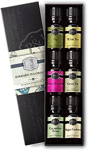 Afternoon Tea Set of 6 Premium Grade Fragrance Oils - Fig, White Tea, Green Tea, Sugar Cookies, Cucumber Melon, and Berries & Cream