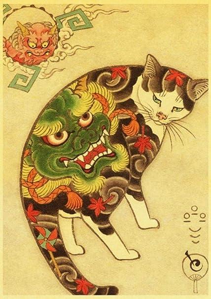 xuhpiar Gato De Tatuaje De Samurai Japonés Cuadro De La Pared De ...
