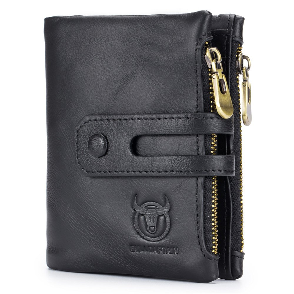 COWORLD Men's Wallet Minimalist Vintage RFID Blocking Cowhide Leather Wallet for Men