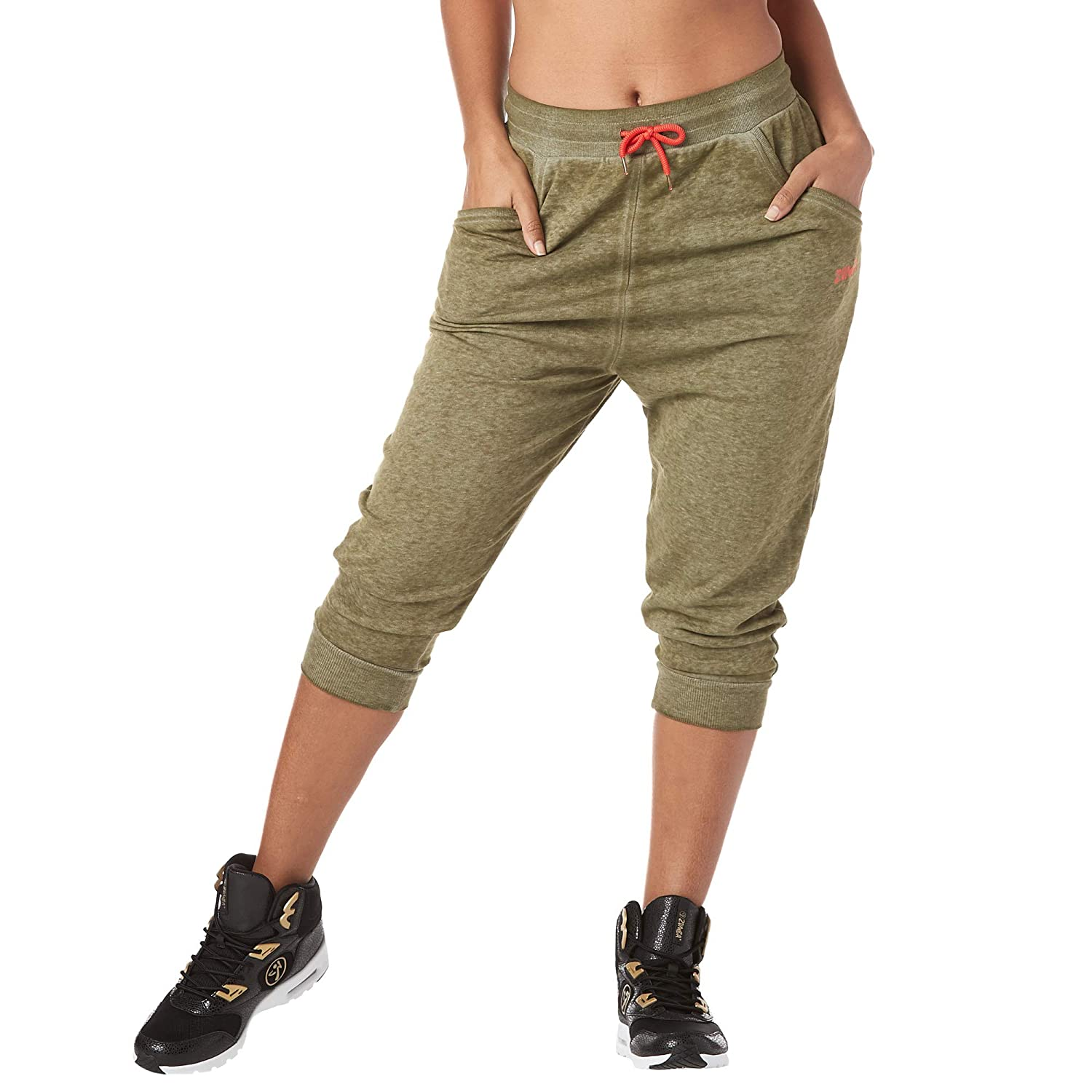 X-Small Army Green Zumba Womens Soft Breathable Activewear Harem Capri Workout Pants