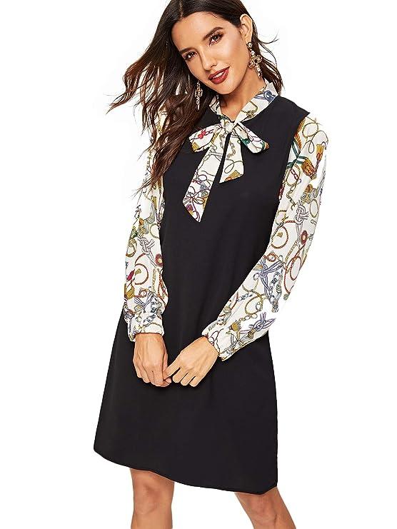 60s Dresses | 1960s Dresses Mod, Mini, Hippie Milumia Women Tie Neck Color Block Contrast Chain Print Sleeve Tunic Dress $27.99 AT vintagedancer.com