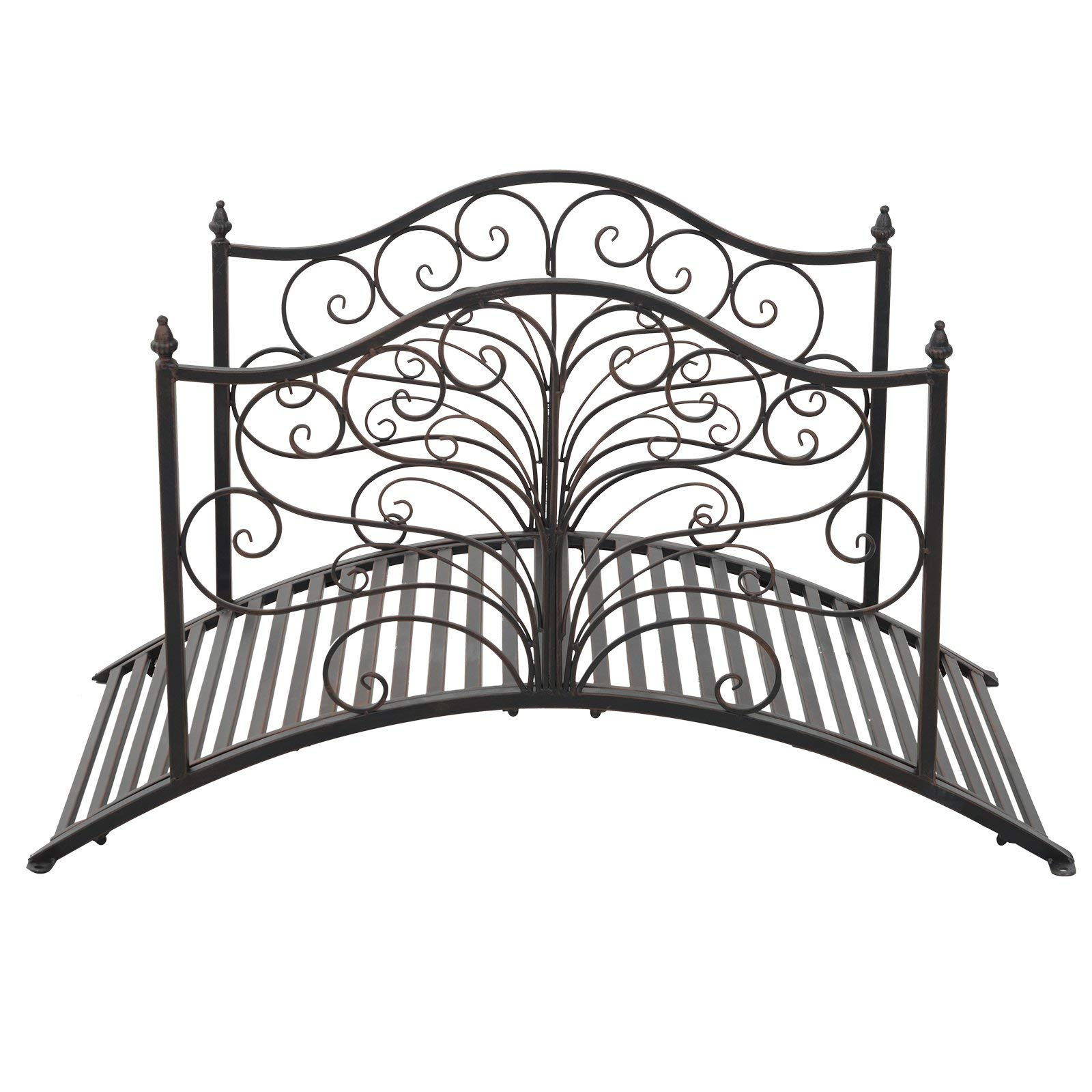Festnight Outdoor Metal Garden Bridge Patio Backyard Decorative Bridge Black Bronze, 4' by Festnight (Image #3)