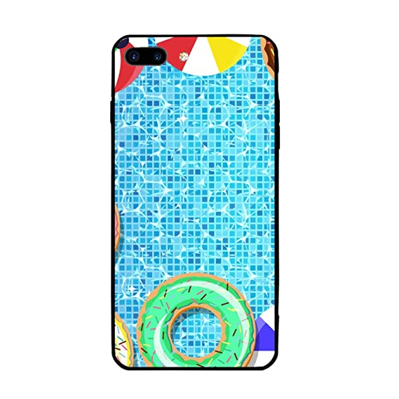 pretty nice 89520 cde92 Amazon.com: Swimming Pool Donuts Case for iPhone 8 Plus and iPhone 7 ...