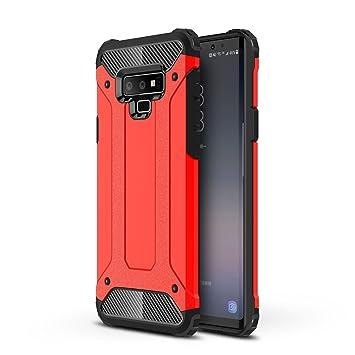 AOBOK Funda Samsung Galaxy Note 9, Doble Capa Híbrida Armor Funda Shock-Absorción Armadura Proteccion Carcasa para Samsung Galaxy Note 9 Case (Rojo)