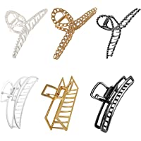 Chris.W 6pack Large Metal Hair Claw Clips for Women Girls Thin and Thick Hair, Hair Catch Barrette Jaw Clamp, Half Bun…