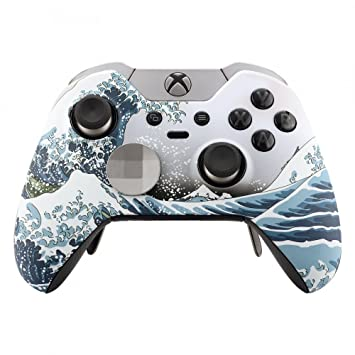 eXtremeRate Carcasa para Xbox One Elite Funda Delantera Placa Frontal Protecdora Tacto Suave Shell de reemplazo Case+2 Anillos de Acento para Mando ...