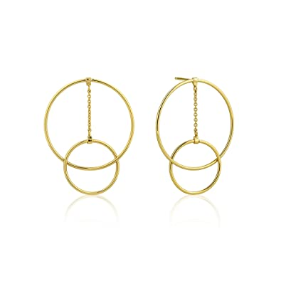 258e691c5f4cc4 Amazon.com: Large 925 Sterling Silver Geometric Round Hoop Art Deco  Statement Hanging Drop Earrings, Gold Plated: Jewelry
